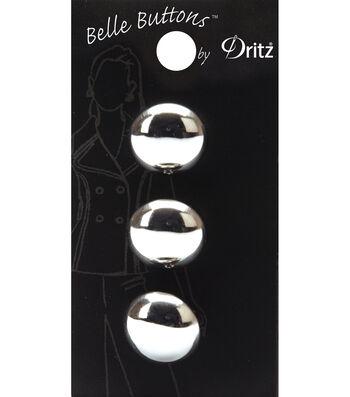 Belle Button-Smooth Round, Silver 18Mm
