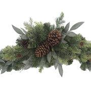 Blooming Holiday Mixed Greenery And Pinecone Swag, , hi-res
