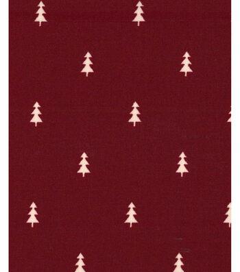 Holiday Showcase™ Christmas Cotton Fabric 43''-Mini Christmas Trees on Burgundy