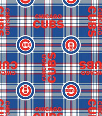 "Chicago Cubs Fleece Fabric 58""-Plaid"
