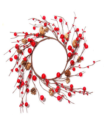 Blooming Holiday Christmas 6'' Berry & Pinecone Mini Wreath-Red