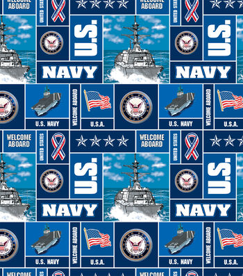 "United States Navy Fleece Fabric 58""-Allover"
