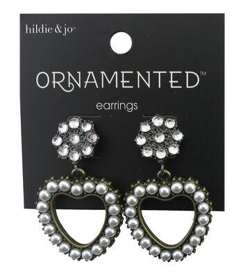 hildie & jo™ Ornamented Heart Antique Gold Earrings-Pearl/Crystal