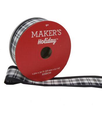 Maker's Holiday Ribbon 1.5''X30'-White & Black Plaid with Black Edge