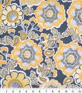 Keepsake Calico Cotton Fabric-Large Floral Yellow/Gray