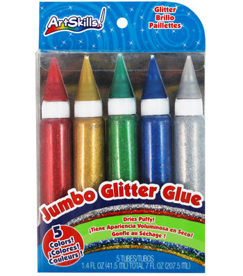 Washable Jumbo Glitter Glue 1.37 Ounces 5/Pkg-Classic