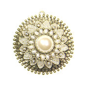 Blue Moon Beads Pendant, Medallion, Gold/Ivory Pearl, , hi-res