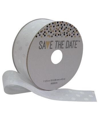 Save the Date 1.5'' X 15' Ribbon-White Polka Dot