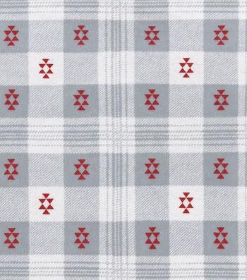"""3 Yard Pre-Cut 3 Yard Pre-Cut Snuggle Flannel Fabric 42""""-Aztec Plaid Gray Red"""