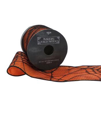 Maker's Halloween Ribbon 2.5''x12'-Black Spider Web on Orange