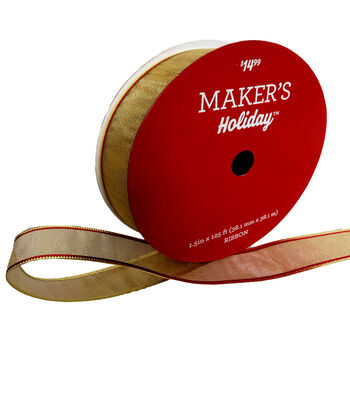 Maker's Holiday Christmas Value Ribbon 1.5''x125'-Gold with Red Edge