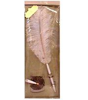 Darice® Feather Pen & Holder Set-White, , hi-res