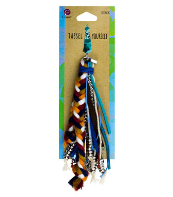Cousin® Tassel It Yourself Leather Braid Tassel-Blue, Teal & Brown