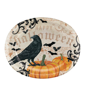 Maker's Halloween 8 Pack Oval Paper Dinner Plates-Crow