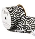 Offray 2.25\u0022 x 9\u0027 Geo Ribbon-White/Black
