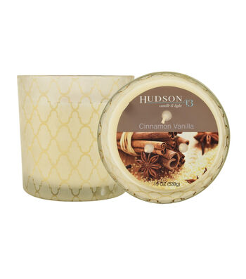 Hudson 43™ Candle & Light Collection 19oz Patterned Glass Cinnamon Vanilla