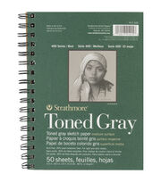 "Strathmore Spiral Toned Sketch Book 5.5""X8.5""-Gray 50 Sheets, , hi-res"