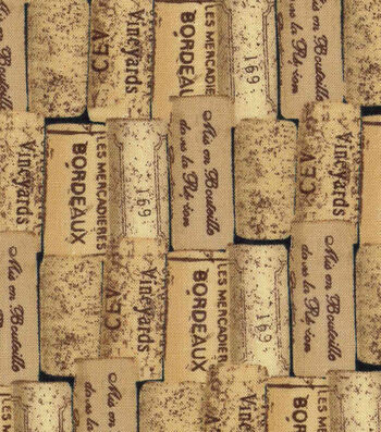"Novelty Cotton Fabric 43""-Packed Wine Corks"