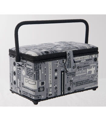 Medium Rectangle Sewing Basket-Gray Sew Print