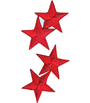 "Wrights Iron-On Appliques-Red Stars 1-1/4"" 4/Pkg"