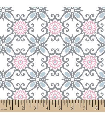 """3 Yard Pre-Cut Snuggle Flannel Fabric 42""""-Floral Swirl Blue"""