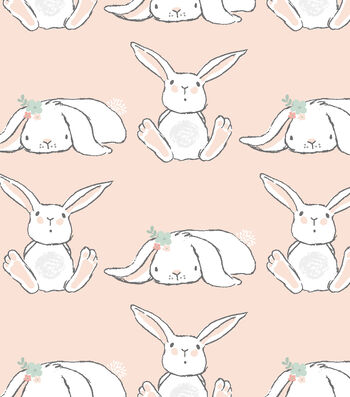 Nursery Flannel Fabric 42''-Bunnies in Line on Coral
