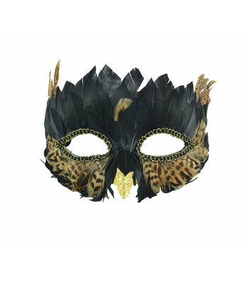Maker's Halloween Owl Half Mask with Feathers-Black