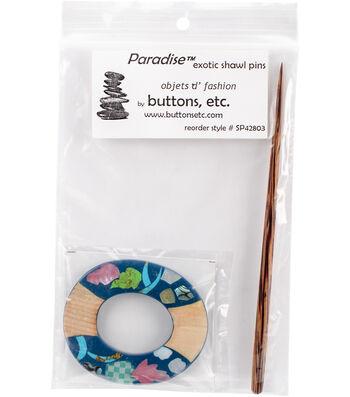 Inlaid Shell/Stone Shawl Pin-Circle
