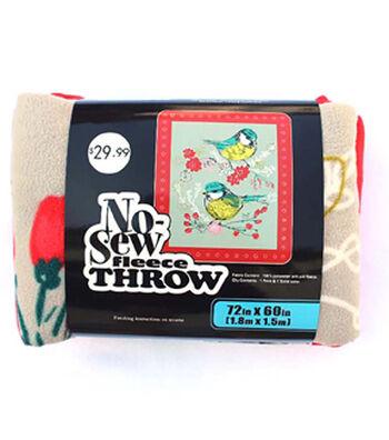 "No Sew Fleece Throw 72""-Sketched Birds"