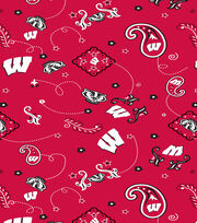 "University of Wisconsin Badgers Cotton Fabric 44""-Bandana, , hi-res"
