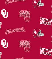 "University of Oklahoma Sooners Fleece Fabric 58""-All Over, , hi-res"