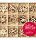 Papermania Create Christmas Wooden Shapes In Tray-Large Snowflakes