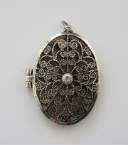 hildie & jo™ Antiquist Silver Locket-Rhinestone, , hi-res