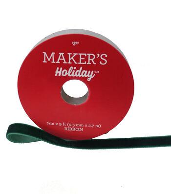 Maker's Holiday Christmas Velvet Ribbon 3/8''x9'-Green