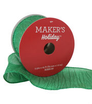 Maker's Holiday Christmas Wrinkled Lame Ribbon 2.5''x25'-Green, , hi-res