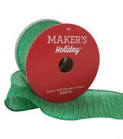Maker's Holiday Christmas Wrinkled Lame Ribbon 2.5''x25'-Green, , hi-res