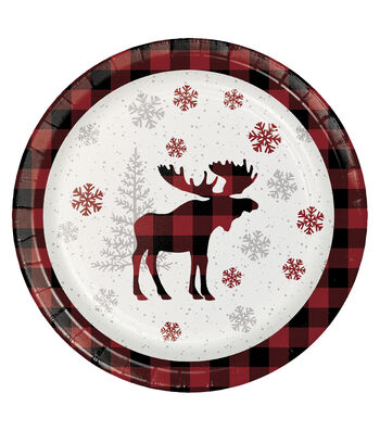 Maker's Holiday Christmas 8 pk Dinner Plates-Holiday Moose