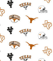 "University of Texas Longhorns Cotton Fabric 44""-White All Over, , hi-res"