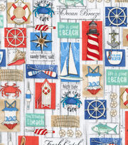 Nautical Fabric- Beach Life Signs Cotton, , hi-res