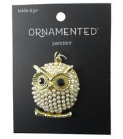 hildie & jo™ Ornamented Owl Gold Pendant-Pearls & Black Stones, , hi-res