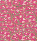 Buttercream Olivia Collection Cotton Fabric-Scroll Vine Metallic