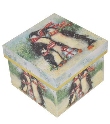 Maker's Holiday Small Square Storage Box-Penguin