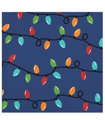 Maker's Holiday Christmas 20 pk Beverage Napkins-Bulbs on Blue