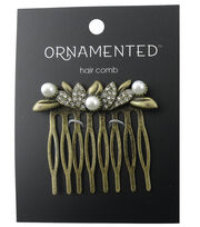 hildie & jo™ Ornamented Antique Gold Hair Comb-Pearls & Crystals, , hi-res