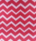 Blizzard Fleece Fabric-Pink & White Chevron