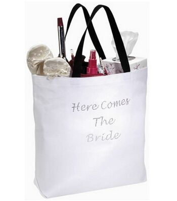 "18""x16"" Here Comes The Bride Tote-White W/Rhinestones"