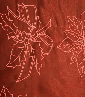 """Sew Sweet Glitter Organza Large Floral Fabric 58""""-Holly Red"""
