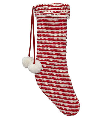 Maker's Holiday Christmas Knit Stocking with Pom Pom-Candy Cane Stripe