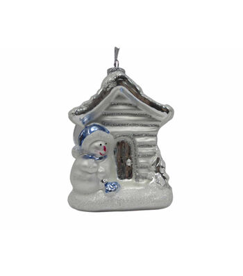 Maker's Holiday Christmas Arctic Frost House with Snowman Ornament-White