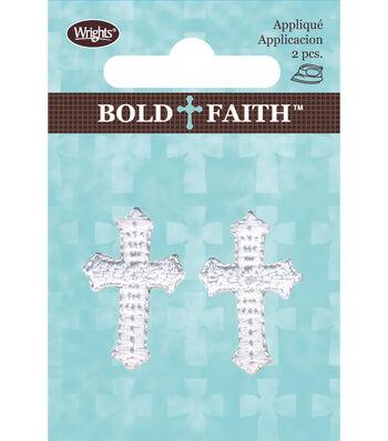 Wrights® Bold Faith Iron-On Appliques-White Mini Cross
